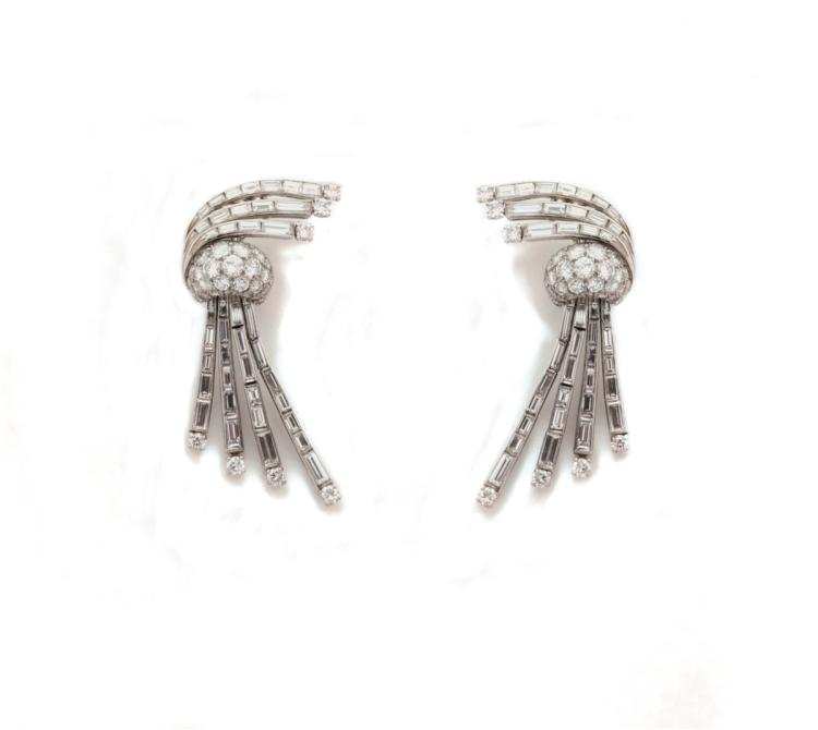 A pair of mid 20th century diamond earrings