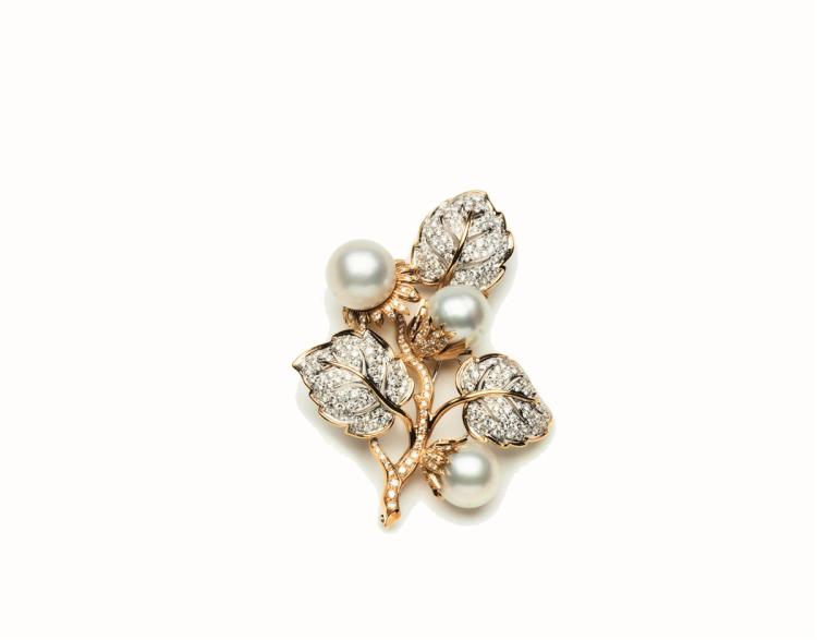 A diamond and cultured pearl brooch, of floral design