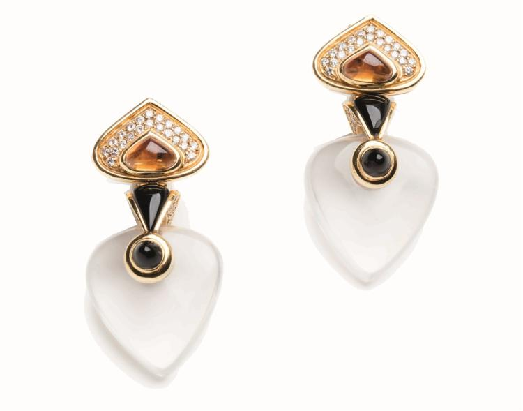 A pair of Rock Crystal, diamond and 18ct gold ear clips