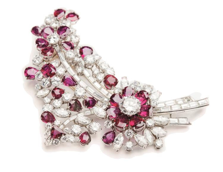 A ruby and diamond brooch, Cazzaniga Roma, end of 1960s, of floral design