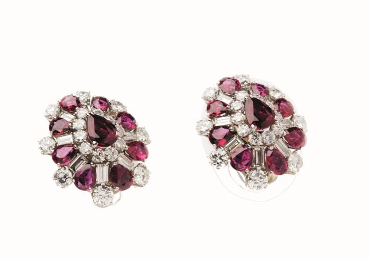 A pair of ruby and diamond ear clips, Cazzaniga Roma, end of 1960s, of cluster design
