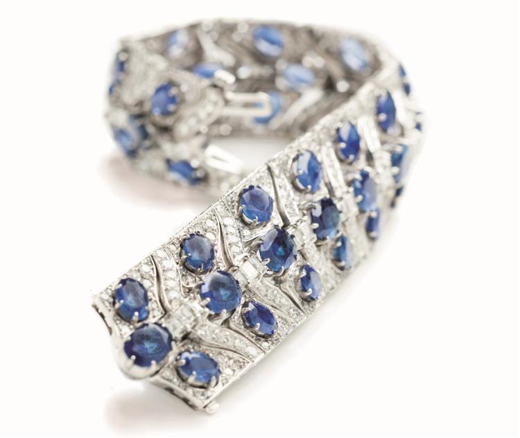 A sapphire and diamond platinum bracelet, Cazzaniga Roma, 1960s