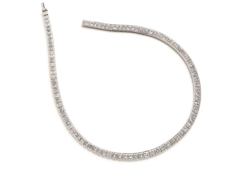 A magnificent diamond and platinum necklace, set with radiant-cut diamonds weighing approximately 55.00 carats in total