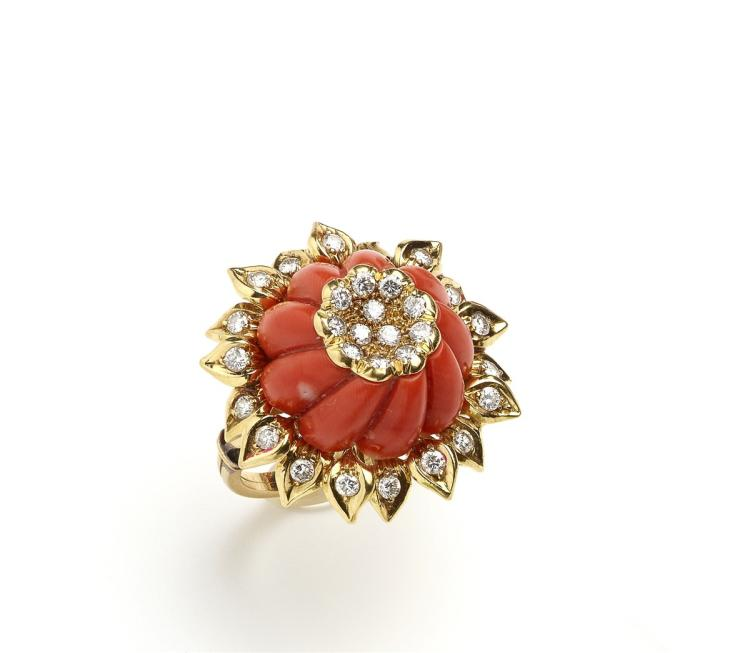 A 1950s gold, coral and diamond ring, Petochi Roma, of sunflower design
