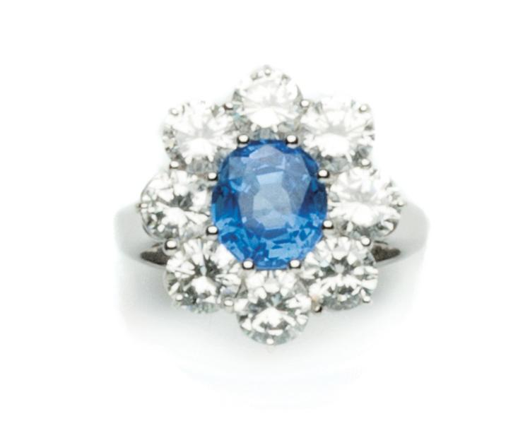 A sapphire ring, set with a Ceylon oval-cut sapphire weighing approximately 3.20 carats