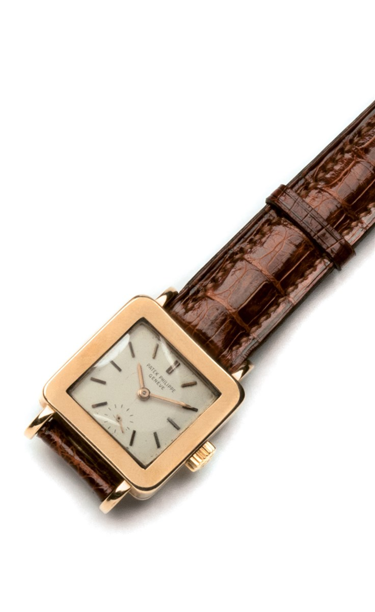 Patek Philippe. A fine pink gold square wristwatch, Patek Philippe & Co., Genèva, Ref. 2444