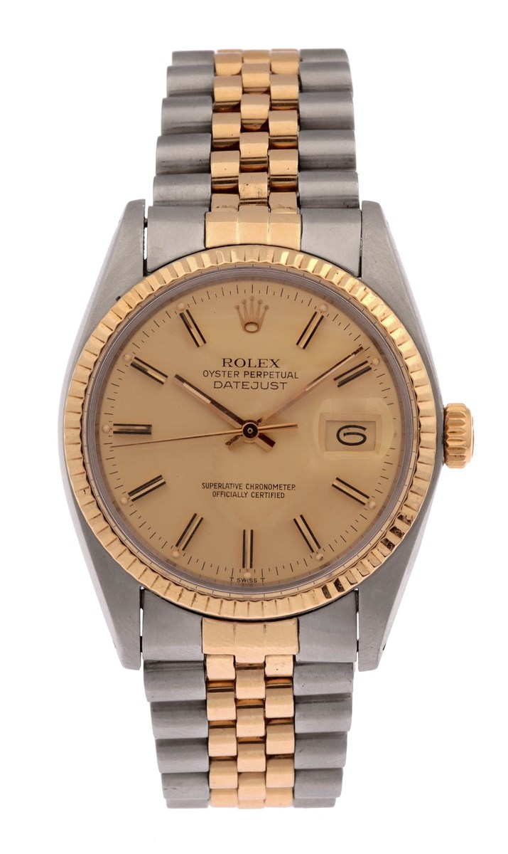 Rolex. A stainless steel and 18ct yellow gold wristwatch, Oyster Perpetual Date Just, Ref. 16013