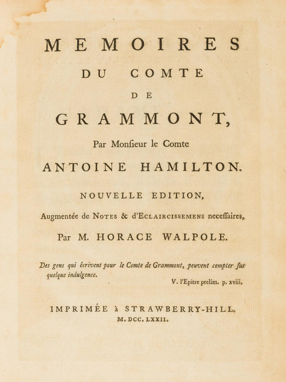 Walpole (Horace, 4th Earl of Orford).- Hamilton (Anthony) Memoires du Comte de Grammont, [one of 100 copies], Strawberry Hill Press, 1772 & Walpole's Works (8)