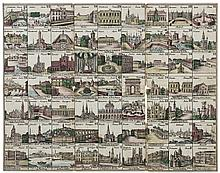 Europe.- Board Game.- An early 19th century antique board game of European travel, [early 19th century].