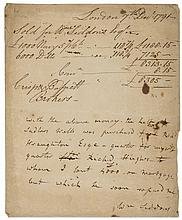 Sadlers Wells Theatre.- Siddons (William) Account for the purchase of a stake in Sadlers Wells Theatre, manuscript, 1p., Horn watermark, folds, browned, sm. 4to, London, 7th December 1791.