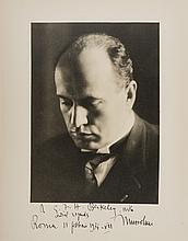 Mussolini (Benito) Portrait photograph signed, by Vincent Laviosa (1889-1935), gelatin silver print, signed and inscribed