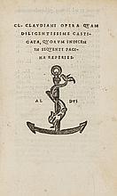Claudianus (Claudius) Opera Quam Diligentissime Castigata, Quorum Indicem in Sequenti Pagina Reperies, 1523.
