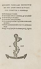 Asconius Pedanius (Quintus) Expositio in IIII Orationes M. Tullii Cic. Contra C. Verrem &c., 1522.