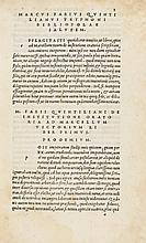 Quintilianus (Marcus Fabius) M.F. Quintilianus. [De institutione oratoria], 1514.