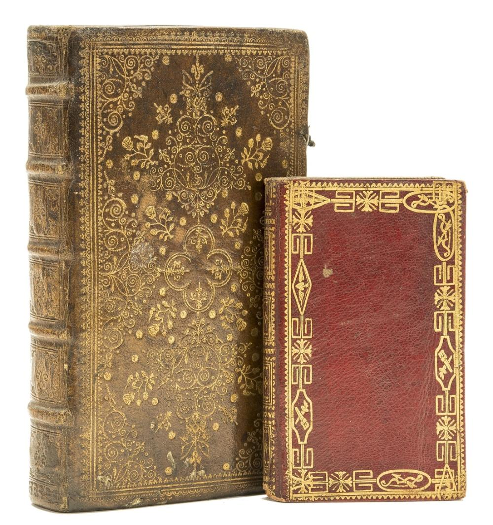 Bindings.- Bible, French. Le Nouveau Testament, contemporary French brown morocco elaborately tooled in gilt , Charenton, Pierre Des-hayes, 1655 & another (2)