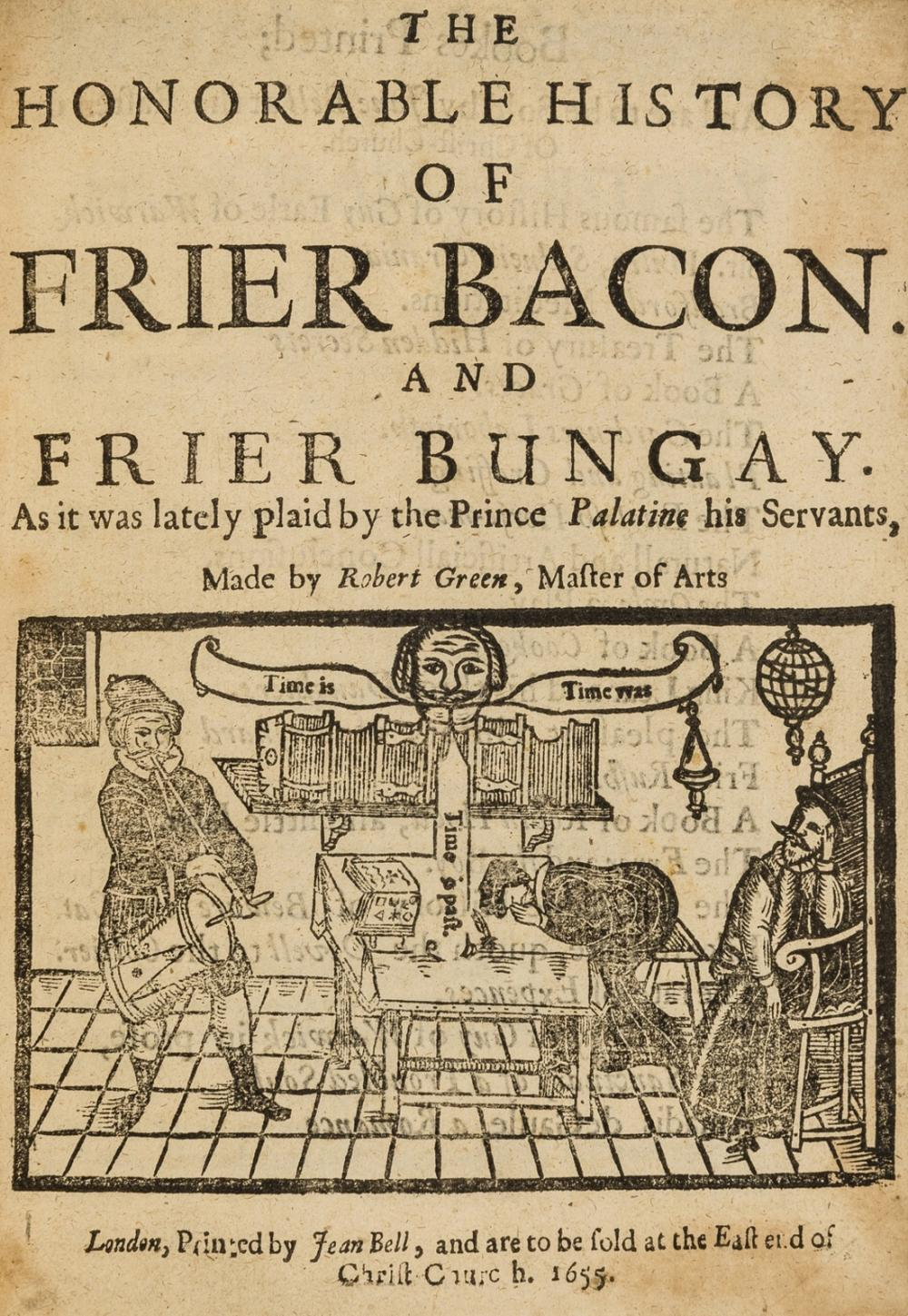 Greene (Robert) The Honorable History of Frier Bacon and Frier Bungay, third edition, later crushed red morocco, gilt, by Jean Bell, 1655.