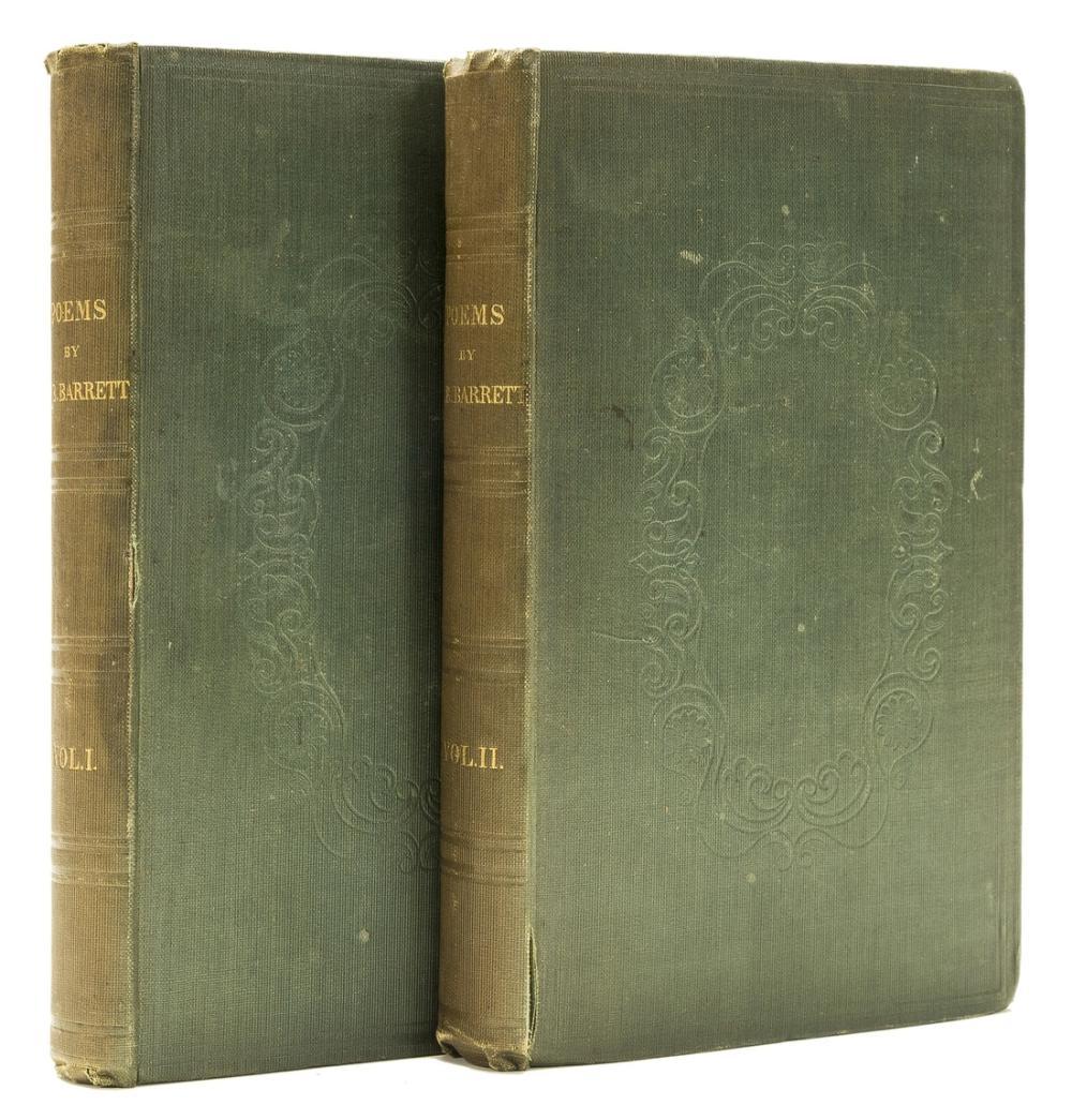 Barrett (Elizabeth Barrett) Poems, 2 vol., first edition, original cloth, 1844.