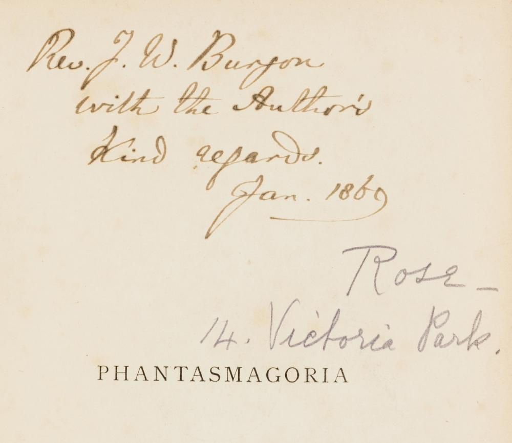 """[Dodgson (Charles Lutwidge)], """"Lewis Carroll"""". Phantasmagoria, first edition, first issue, presentation copy inscribed by the author, 1869."""