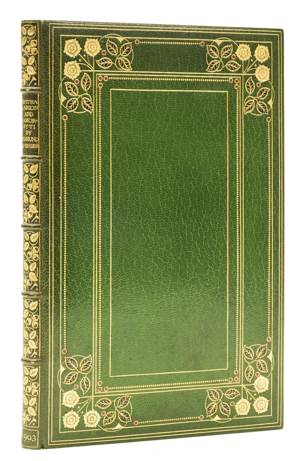 Binding.- Spenser (Edmund) Epithalamion and Amoretti, one of 250 copies, bound in panelled crushed green morocco in a Doves Bindery style, by Bumpus, 1903.