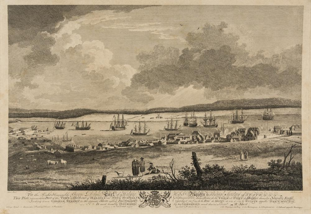 Americas.- Canada.- Serres (After Dominic) and Richard Short. Part of the Town & Harbour of Halifax in Nova Scotia, Looking down George Street to the opposite Shore called Dartmouth, etching and …