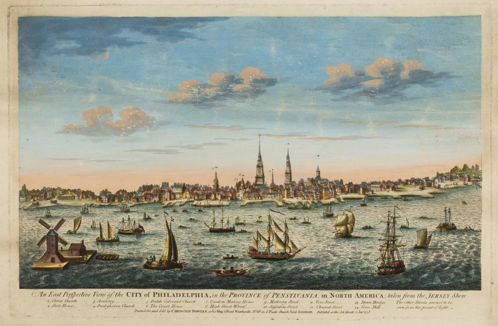 Americas.- Heap (After George) and Scull (Nicholas). An East Perspective View of the City of Philadelphia, in the Province of Pensylvania, in North America; taken from the Jersey Shore, Carington …