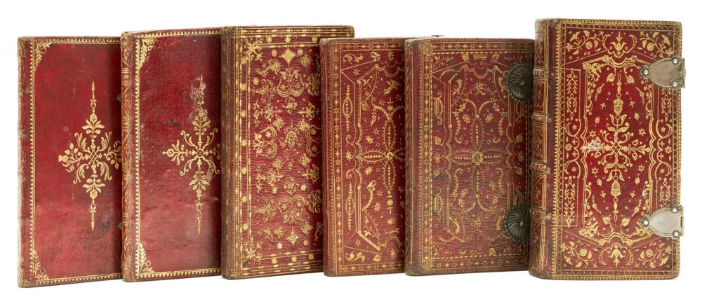 Bindings.- Almanachs.- Rider's British Merlin: for the Year of Our Lord God 1774, contemporary red morocco elaborately tooled in gilt and with metal clasps, R. & M.Brown, 1774.
