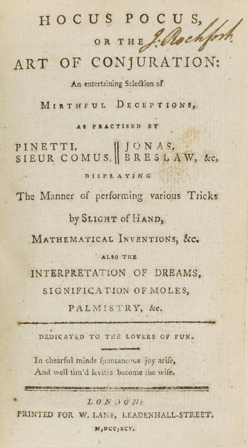 Conjuring.- Hocus Pocus, or the Art of Conjuration..., W.Lane, 1795.