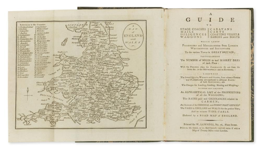 Transport.- Guide (A) to Stage Coaches, Mails, Diligences, Waggons, Caravans, Carts, Coasting Vessels, Barges and Boats, W. Lowndes, No.76, Fleet Street, 1795.