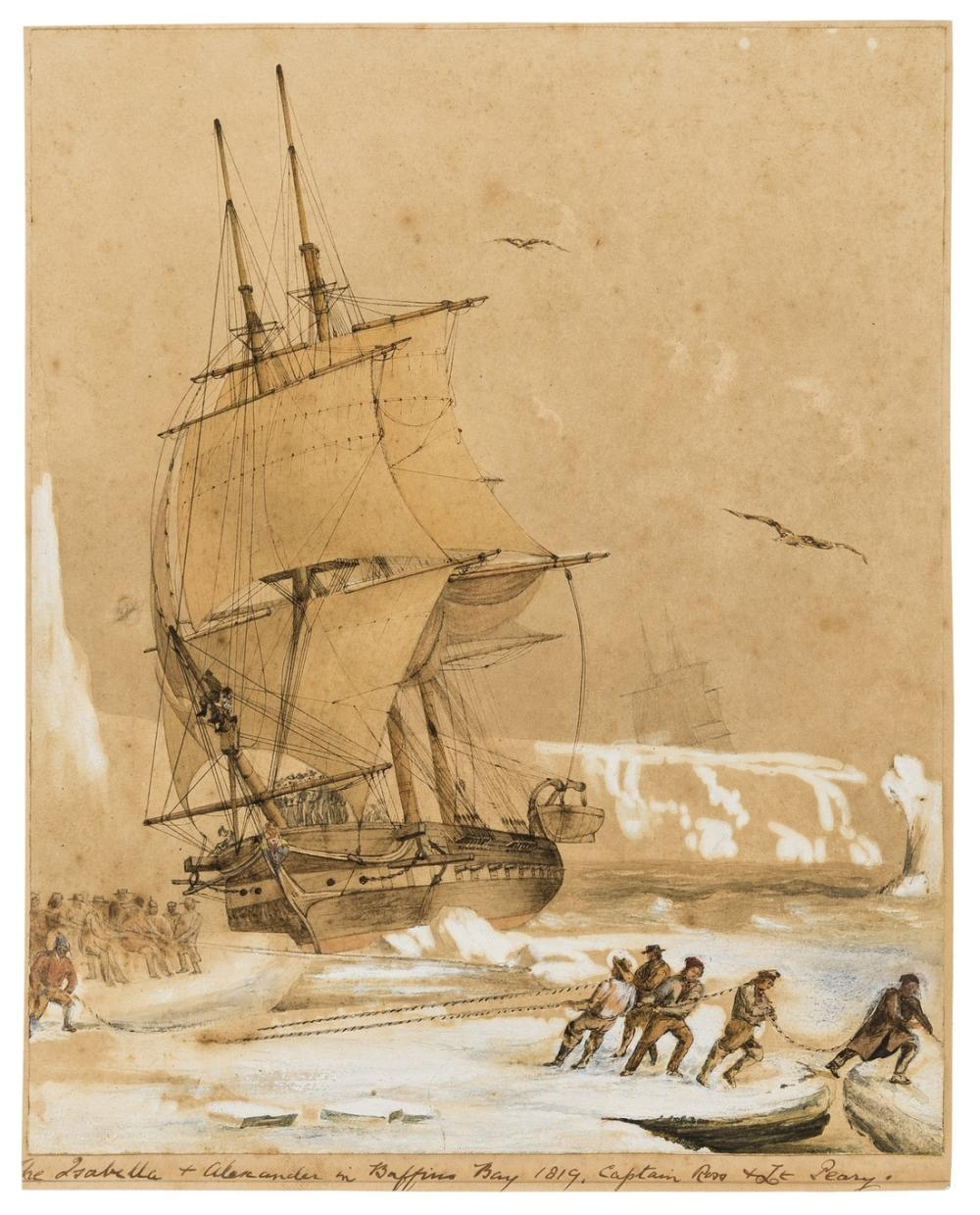 Antarctica.- Mayer (Attributed to Auguste Etienne Francois, French painter who participated in several Arctic expeditions, 1805-1890) Astrolable, the French ship under the command of Jules Dumont …