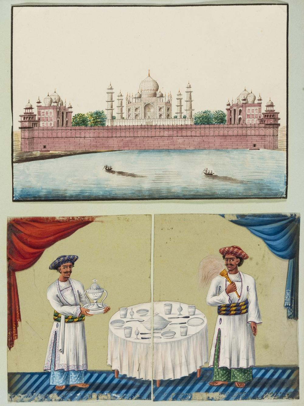 India.- Anglo-Indian School (19th century) A composite souvenir album with drawings, watercolours, and mica paintings, [circa 1820s or slightly later].