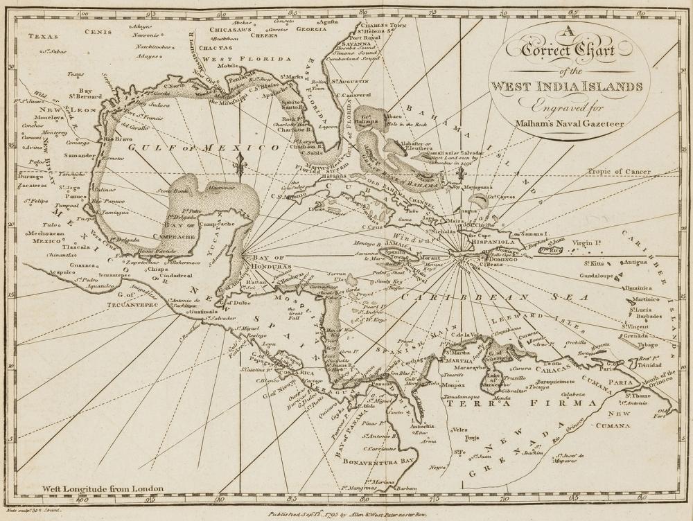 World.- Malham (Rev. John) The Naval Gazetteer; or Seaman's Complete Guide, 2 vol., 17 folding engraved maps, M.Allen, 1799.