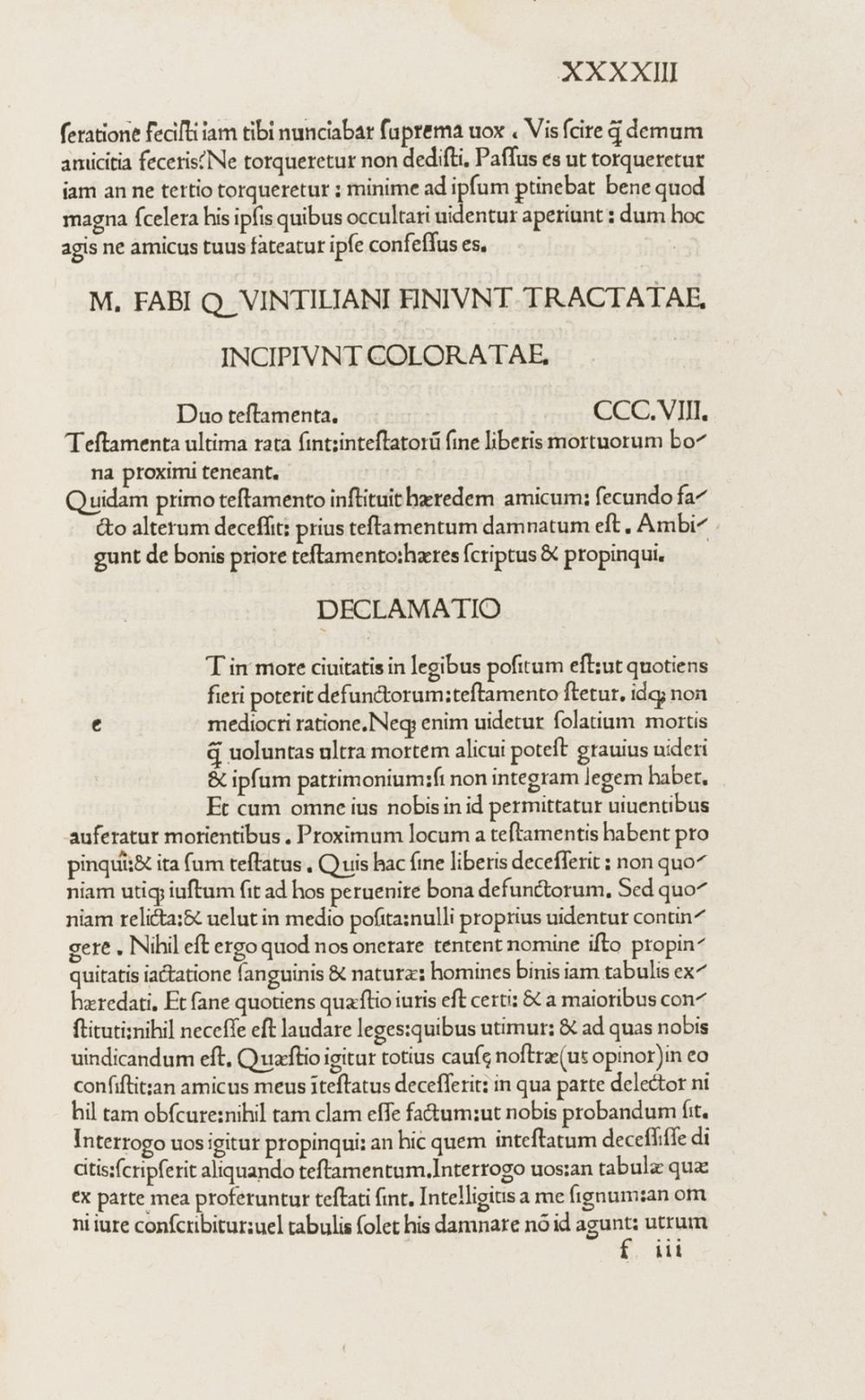 Quintilianus (Marcus Fabius) Declamationes Minores, rare editio princeps of these 136 Declamationes, Parma, Angelus Ugoletus, 1494.