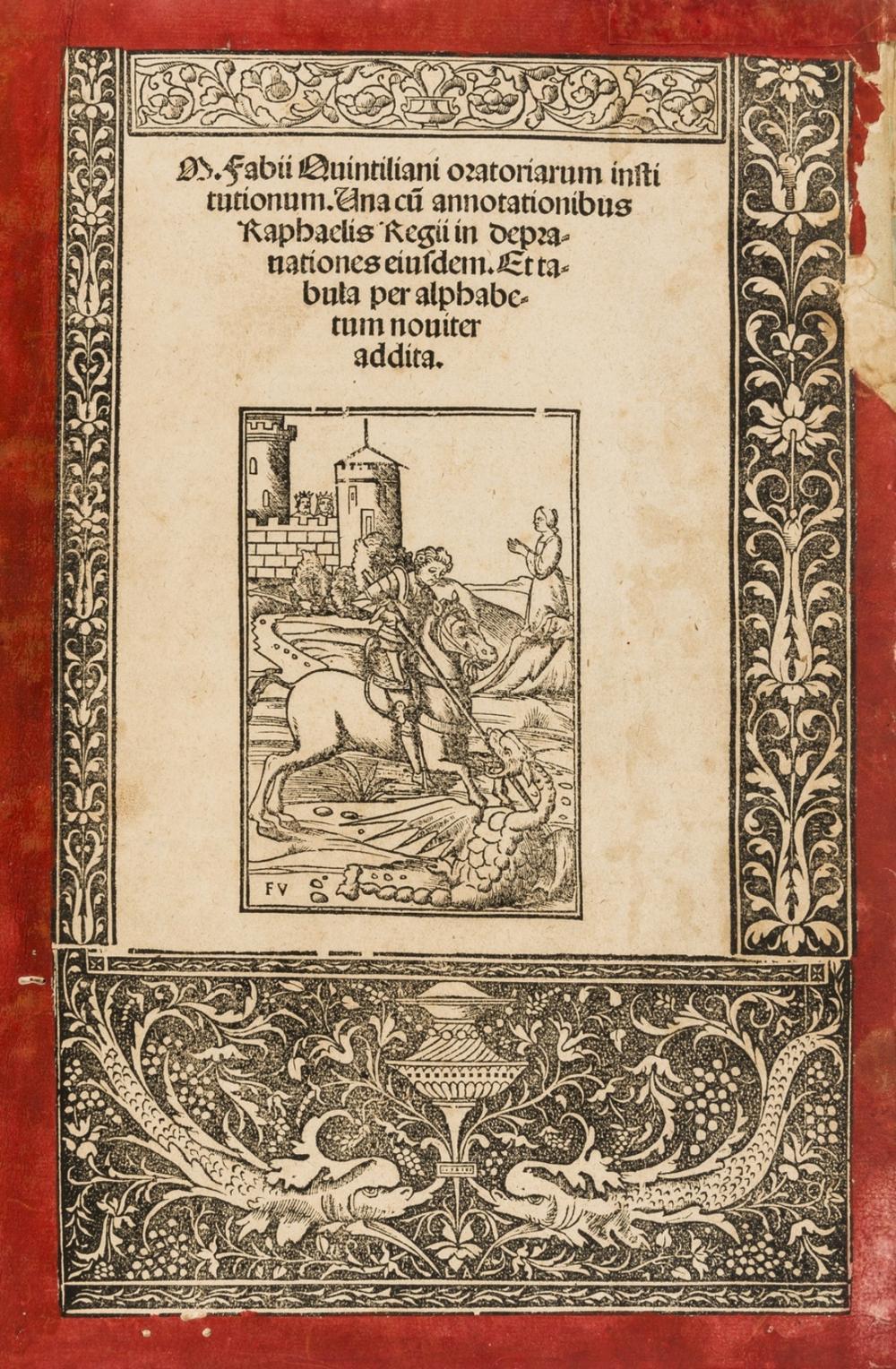 Quintilianus (Marcus Fabius) Oratoriarum institutionum, [Venice], Giorgio Rusconi, 1512; and another copy of the same (water-stained and in a 20th century binding) (2)
