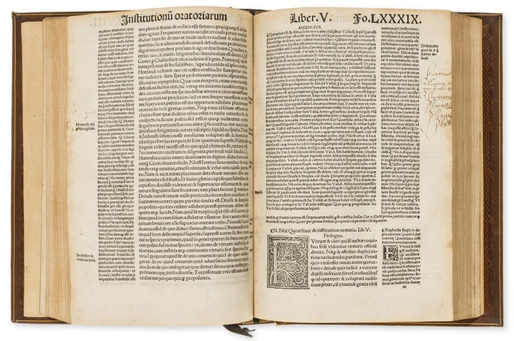 Quintilianus (Marcus Fabius) Oratoriarum institutionu[m] Lib. XII. , a rare copy of this esteemed scholarly edition, Paris, Jodocus Badius Ascensius & Jean Petit, 1516.
