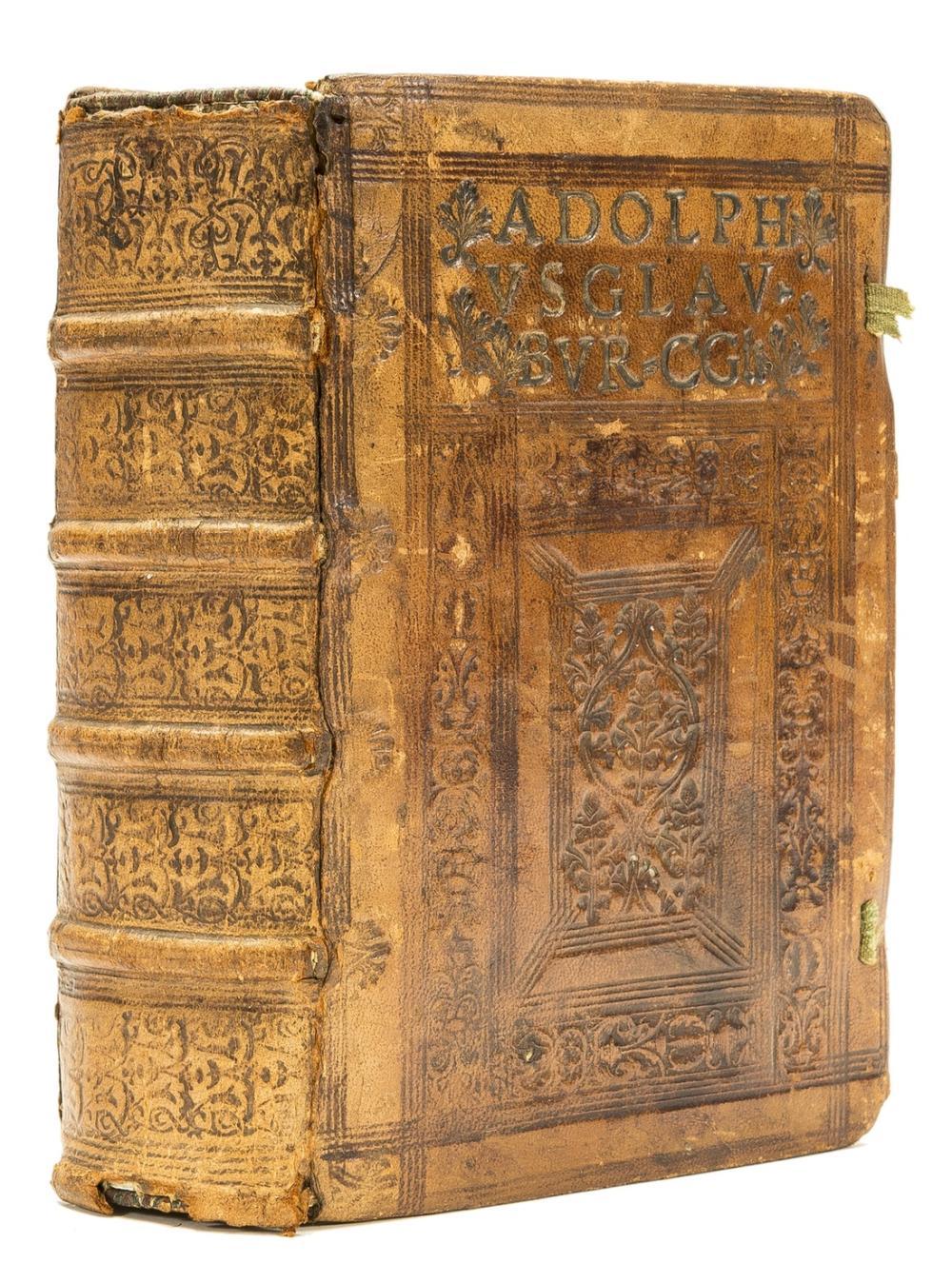 Binding.- Gryphius.- Quintilianus (Marcus Fabius) Institvtionvm oratoriarvm libri XII, in an interesting contemporary blind-stamped calf binding, Lyon, Sebastian Gryphius, 1536.
