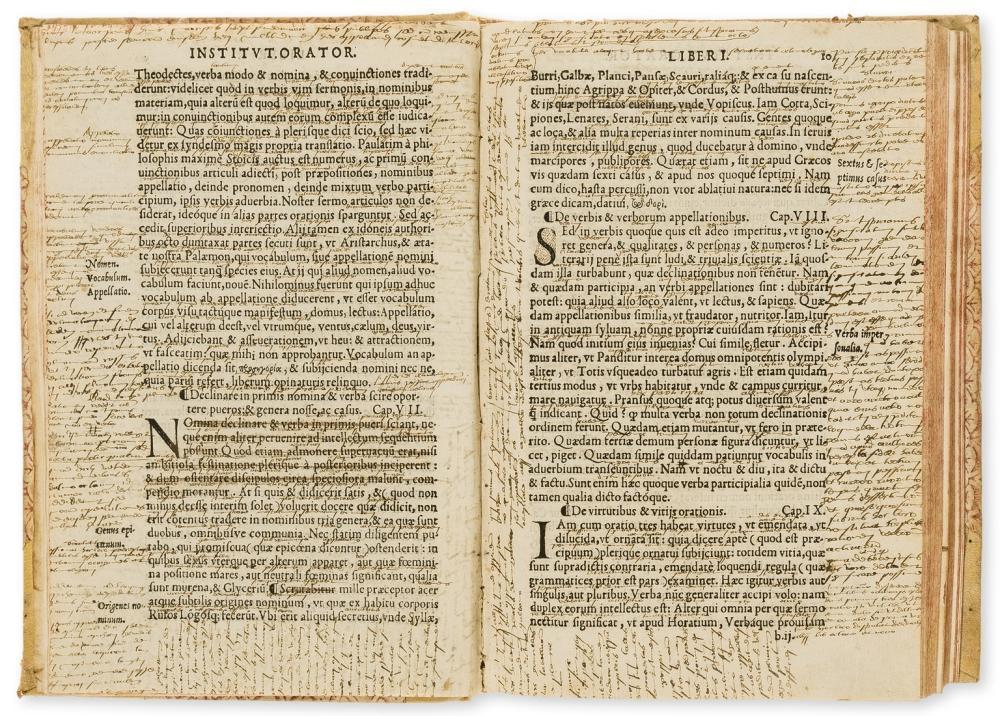 Colines.- Annotated copy.- Quintilianus (Marcus Fabius) Oratoriarum institutionum lib. XII, Paris, first and only Colines edition, Simon de Colines, 1541.