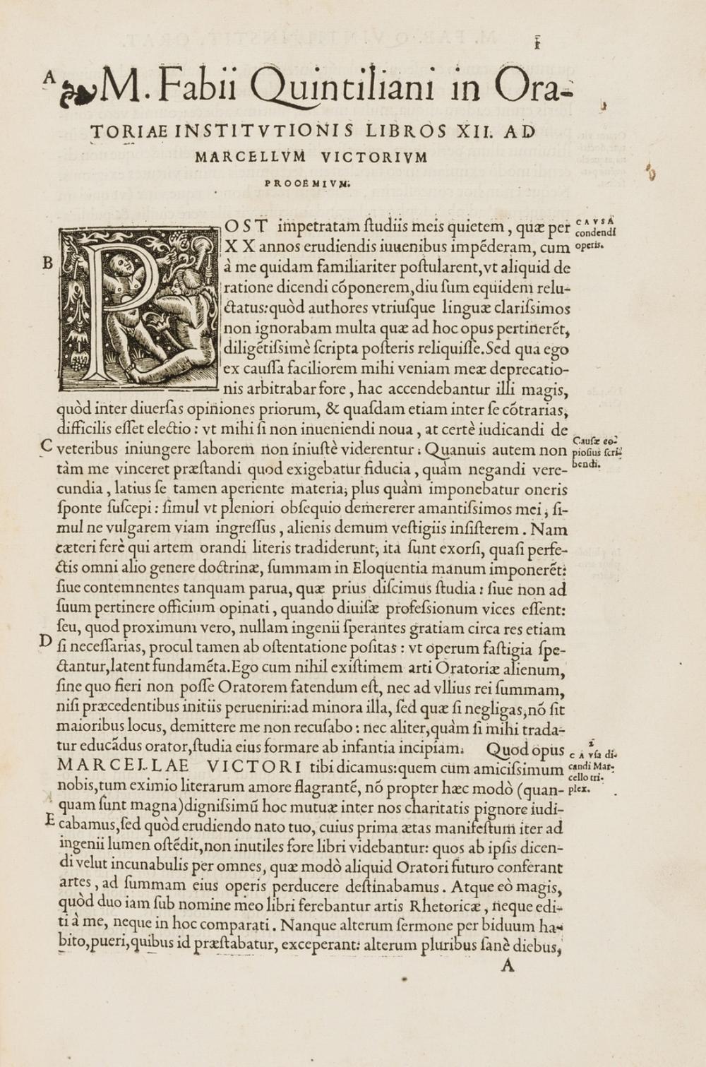 Quintilianus (Marcus Fabius) Institutionum oratoriarum libri XII, Paris, Ambroise Girault, 1541.