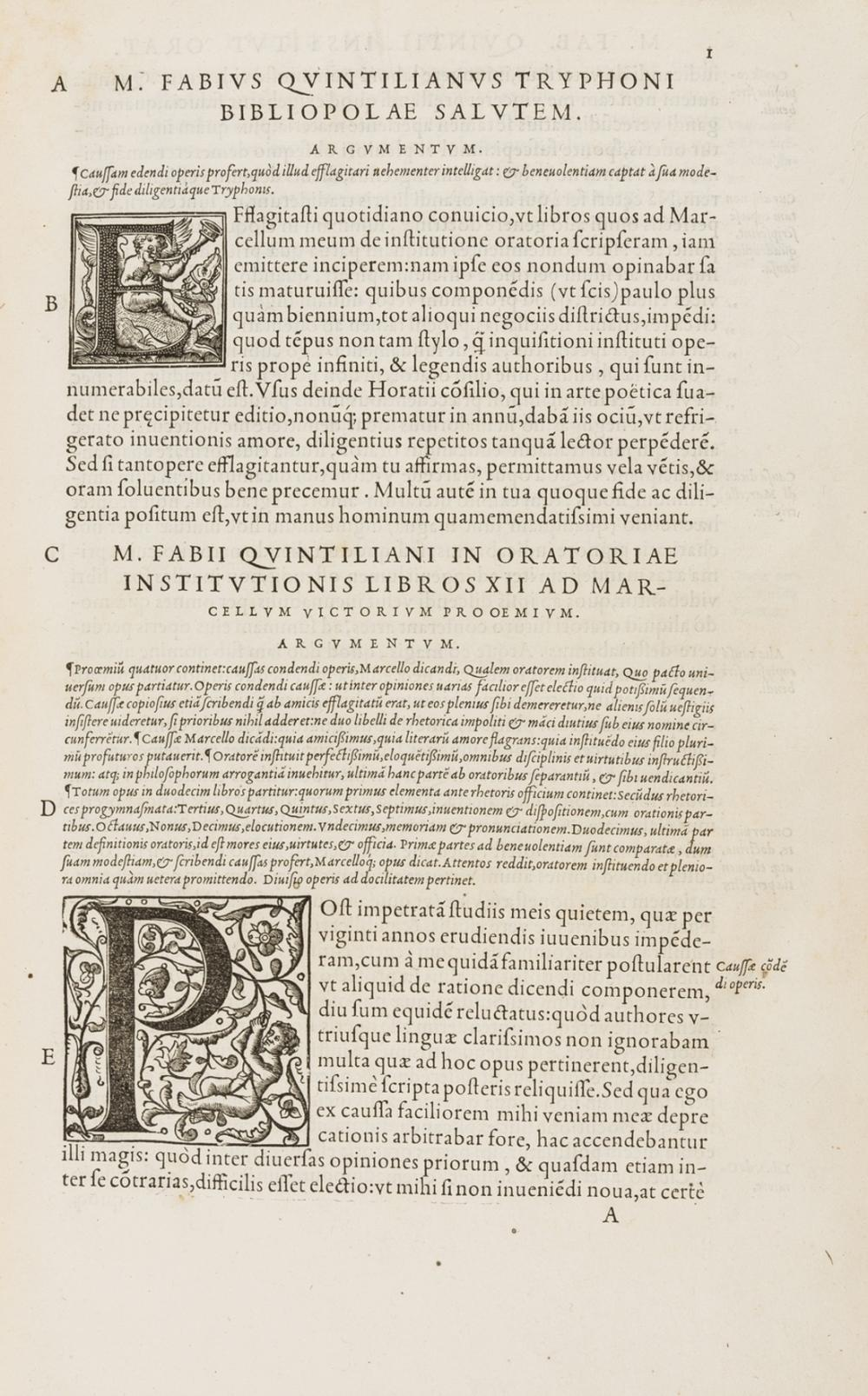 Quintilianus (Marcus Fabius) Oratoris eloquentissimi, de Institutione Oratoria Libri XII, Paris, House of Vascosanus, 1549.