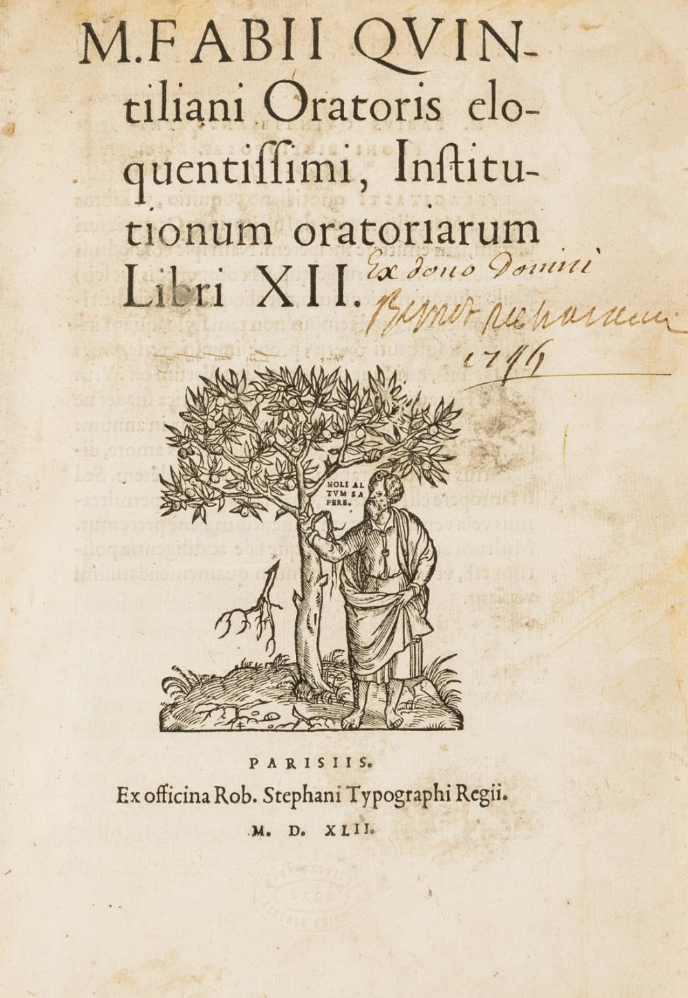 Estienne.- Quintilianus (Marcus Fabius) Institutionum Oratoriarum Libri XII., Paris, Robert Estienne, 1542.