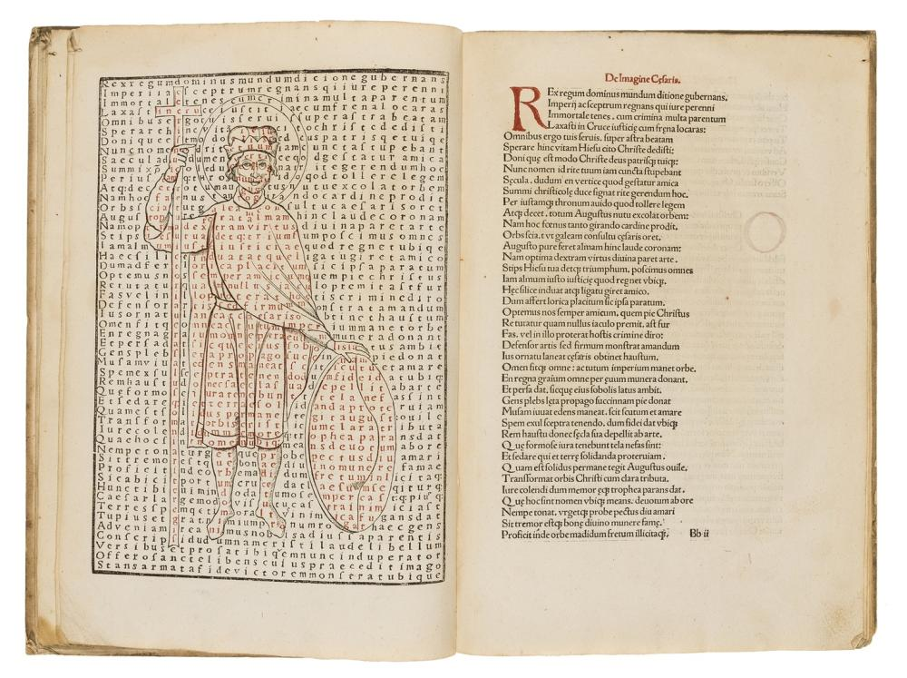 Rabanus Maurus. De Laudibus Sancte Crucis, first edition of this poem with its beguiling calligrams, Pforzheim, Thomas Anshelm, 1503.