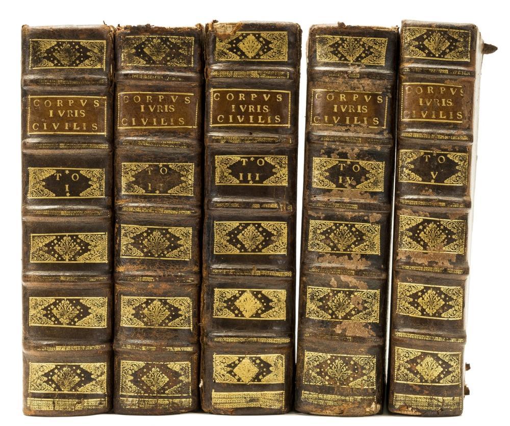 Law.- Justinianus I. [Corpus Juris Civilis], 5 vol., Lyon, Sennoton Freres, 1549-50.