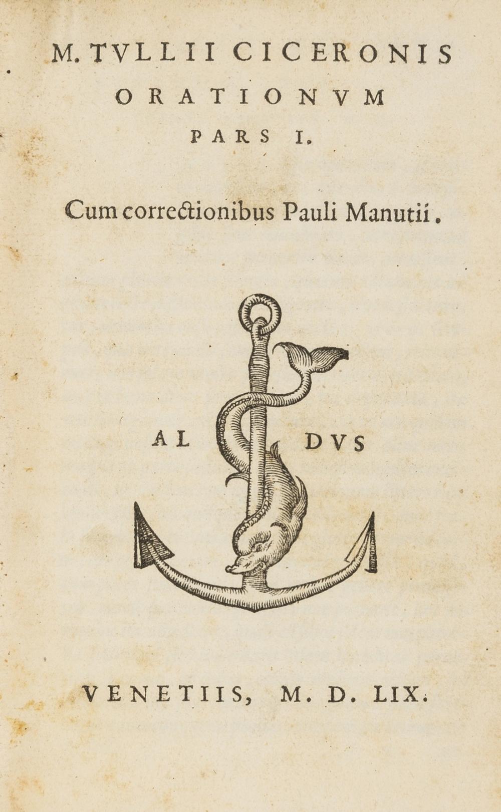 Cicero (Marcus Tullius) Orationum, 3 vol., Paulus Manutius, , Venice, 1559.