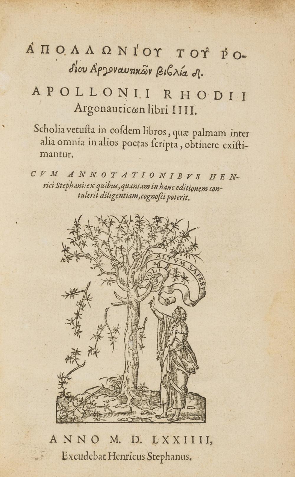 Estienne.- Apollonius Rhodius. Argonauticon libri IIII, edited by Henri Estienne, Geneva, Henri Estienne, 1574.