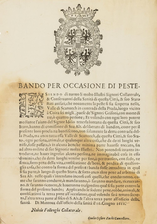 Plague.- Broadside.- Bando per Occasione di Peste, Mantua, 1611.
