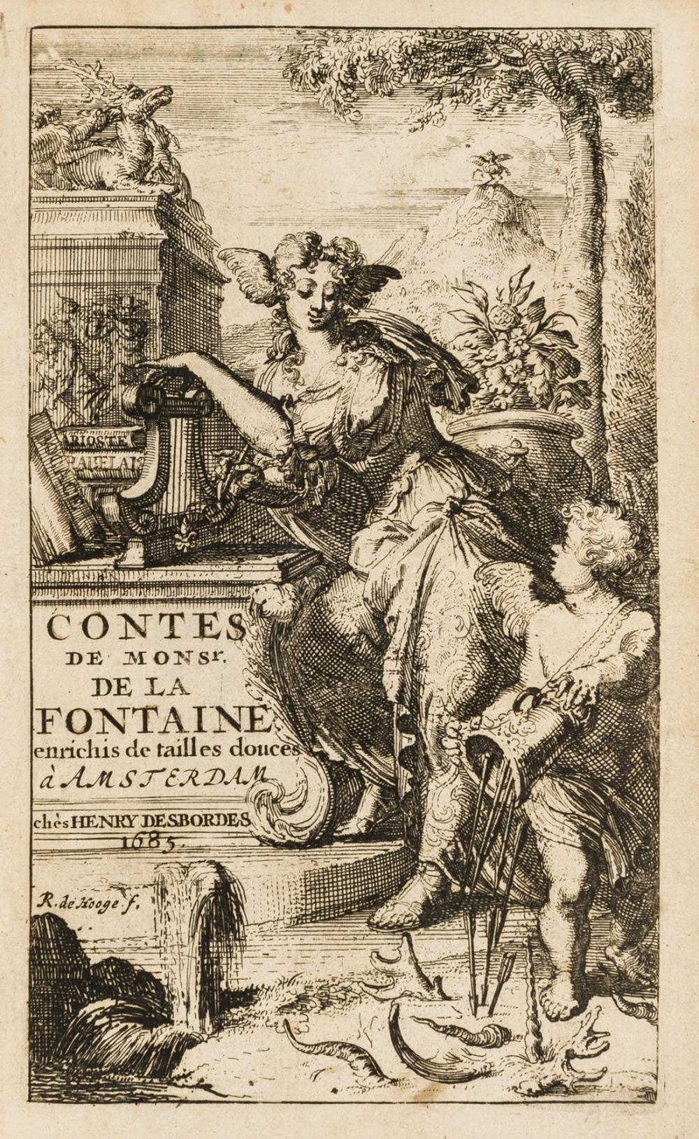 La Fontaine (Jean de) Contes et Nouvelles en Vers, 2 vol. in 1, first illustrated edition, Amsterdam, chez Henry Desbordes, 1685.