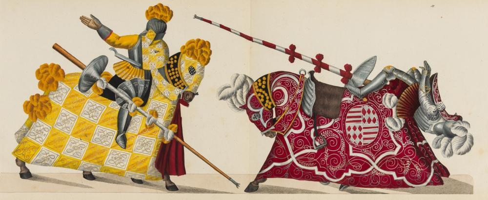 Reibisch (Friedrich Martin von) & Dr Franz Kottencamp. Der Rittersaal. Eine Geschichte des Ritterthums, seines Entstehens und Fortgangs, 62 finely hand-coloured plates, Stuttgart, 1842.