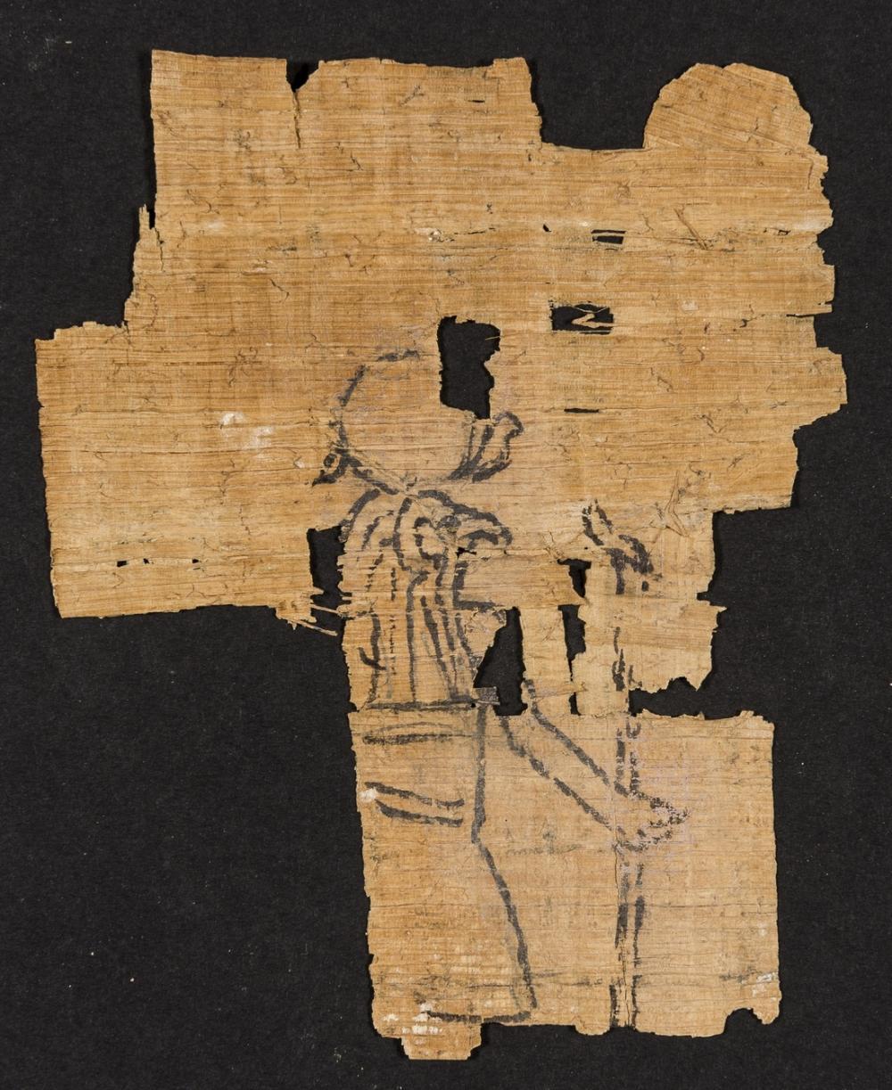 Horus.- Egyptian papyrus, depicting the god Horus, on a fragment of papyrus, [Egypt], [c. 1500 - 1200BCE].