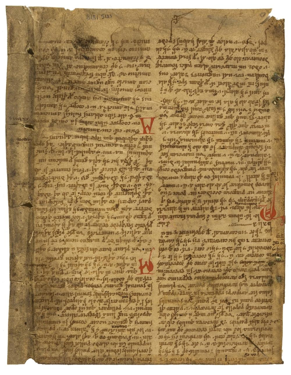 Osbern of Gloucester. Panormia or Liber derivationum, manuscript in Latin, on vellum, early gothic bookhand, double column, 41 lines, in brown ink, 5 2-line initials in red, descenders in lower margin …