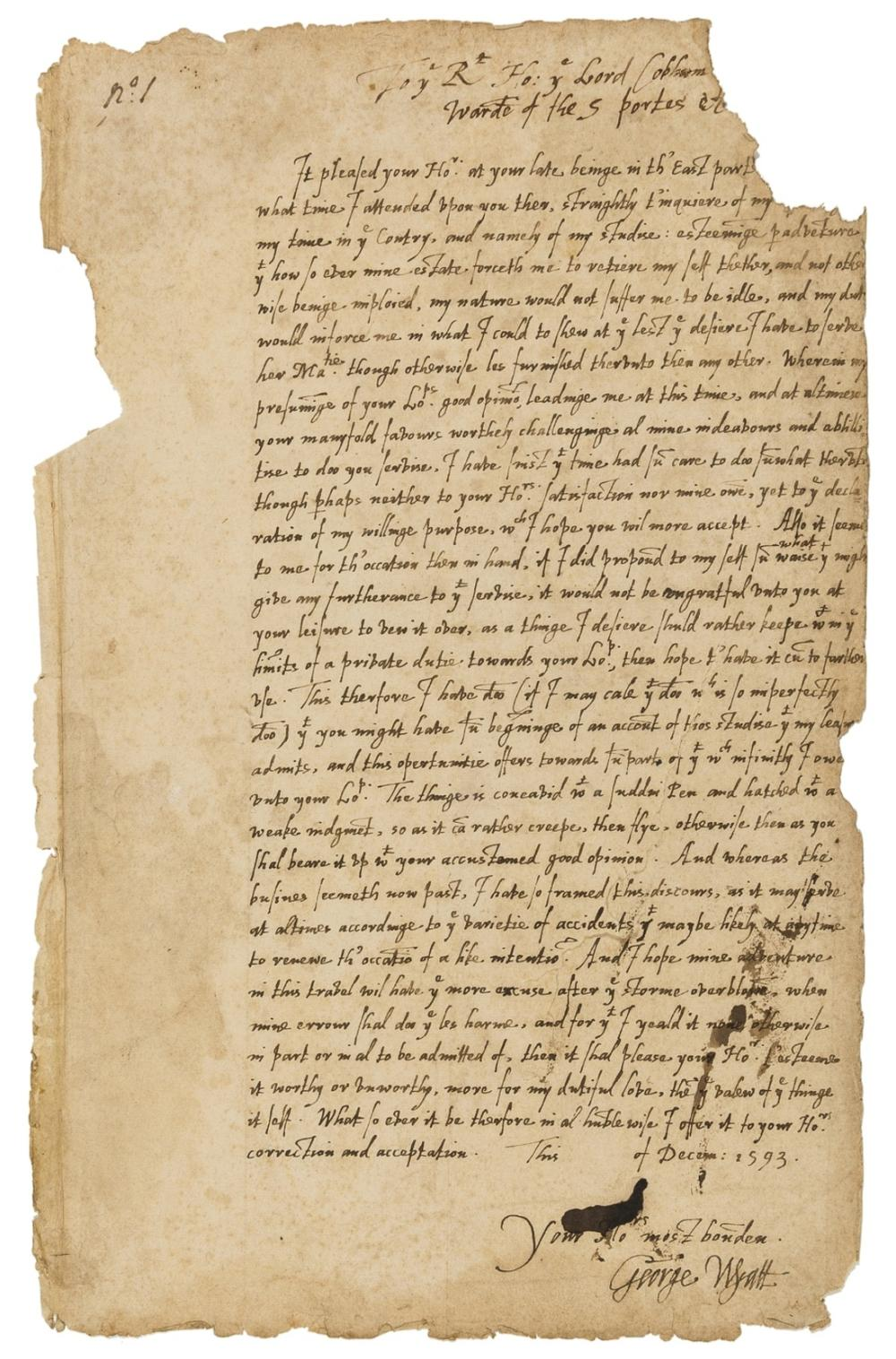 Defence of Calais.- Wyatt (Sir George) Letter signed to Lord Cobham, later Lord Chamberlain, a dedicatory epistle to Wyatt's Treatise on the Defence of Calais,  and notes that his accompanying …