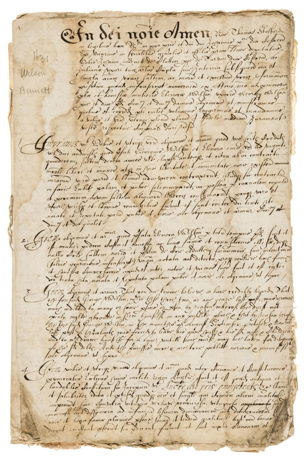 17th century Legal Cases.- Papers relating to legal cases in the Chester area, including an adultery case between George Wilson and his wife Elenora of Tarvin near Chester, manuscripts in English and …